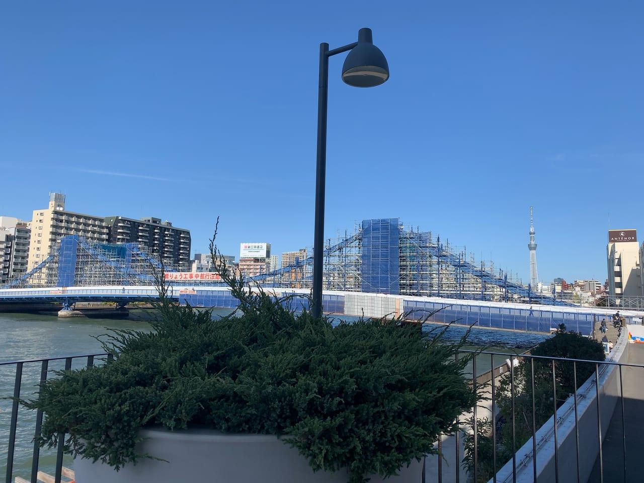 かわてらすからの清洲橋の眺め